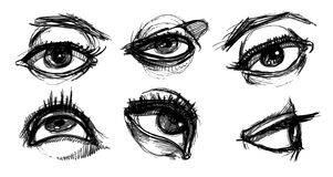 Eye Selection. Variety of hand drawn eyes. each separate, easily edited Royalty Free Stock Images