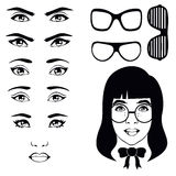 Eye set, girl character. Eyeglasses Stock Photo