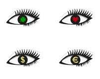 Eye set with icons. Eye set with money, love and luck icons; isolated on white Stock Photography