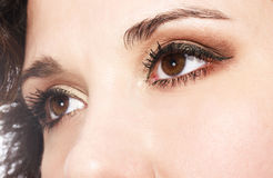 Eye shadow. Female eye with golden-brown cosmetic make-up Royalty Free Stock Photos