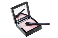 Eye shadow. Pink eye shadow with brush on white Stock Photo