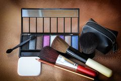Eye Shadow And Brushes Royalty Free Stock Photography