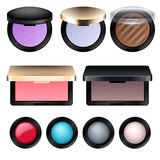Eye shadow and blush cosmetic products set. Royalty Free Stock Photo