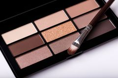 Eye shadow brown palete. Professional eye shadow brown pastel palette and brush on white background royalty free stock images