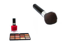 Eye shadow brush. And nail polish royalty free stock photo