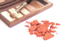 Eye shadow cosmetic make up with brush Royalty Free Stock Images