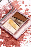 Eye shadow cosmetic set. On pink powder Stock Photography