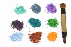 Eye shadow crushed samples with brush Royalty Free Stock Images