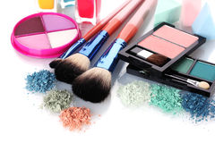 Eye shadow and make-up brushes. Over the white Stock Images