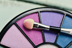 Eye shadow palette and applicator Royalty Free Stock Photos