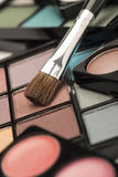 Eye shadow palettes with a brown brush Stock Photo