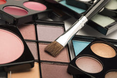 Eye shadow palettes with a range of sizes, shapes and colours Stock Photos