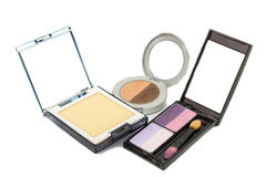 Eye shadow and Powder compact Royalty Free Stock Photos