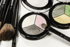 Eye shadow powder with tassel Stock Photography
