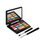 Eye shadow set with brushes Stock Photos