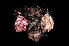 Eye Shadow Sets on Black Background Royalty Free Stock Photography