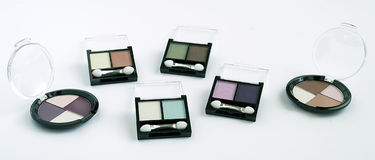 Eye shadows. Several colorful eye shadows on white background Stock Photo