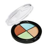 Eye shadows and blush. Plastic case Stock Photos