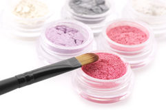 Eye shadows and brush Royalty Free Stock Photography