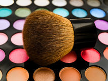 Eye shadows with brush Royalty Free Stock Photo