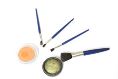 Eye shadows and brushes Stock Image