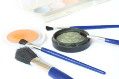 Eye shadows and brushes Stock Photography