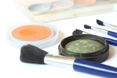 Eye shadows and brushes Stock Photo