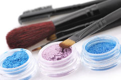 Eye shadows and brushes Royalty Free Stock Photos