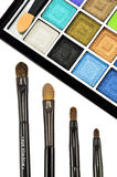 Eyeshadow color palette and brushes Royalty Free Stock Photo