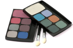 Eye shadows and brushes Stock Images