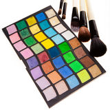 Eye shadows and brushes Royalty Free Stock Images