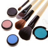 Eye shadows and brushes Royalty Free Stock Photography
