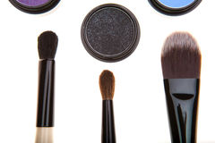 Eye shadows and brushes Royalty Free Stock Photo