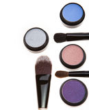 Eye shadows and brushes Stock Photos