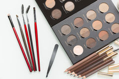 Eye shadows of different colors and make-up Stock Photos
