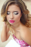 Eye shadows makeup. Attractive girl. Fashion glamour portrait of Royalty Free Stock Photos