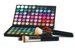 Eye shadows and makeup brushes Royalty Free Stock Photos