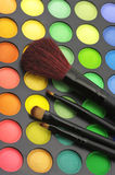 Eye shadows palette and brushes Stock Image