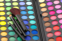 Eye shadows palette and brushes Stock Images
