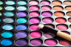 Eye shadows palette with makeup brush Stock Images