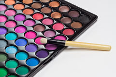 Eye shadows palette with makeup brush Stock Photography