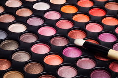 Eye shadows palette and makeup brush Royalty Free Stock Photo