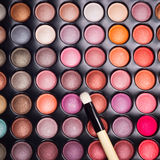 Eye shadows palette with makeup brush Royalty Free Stock Image