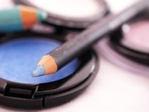 Eye shadows and pencils Stock Images