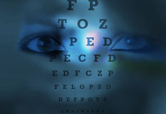 Eye chart test eye vision. Banner for web and print uses Woman's eye and eyesight vision exam chart Stock Photography