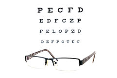 Eye sight test. Glasses on a eye sight test chart isolated on white background Royalty Free Stock Photos