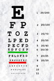 Eye sight test chart in snow white background. For eye care related work Stock Photo