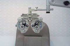 Eye-sighting machine in the ophthalmologist`s office royalty free stock photo