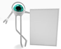 Eye with a signboard. Eye with a empty signboard isolated in white royalty free illustration