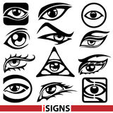 Eye signs. Various eye icons and signs set Royalty Free Stock Image